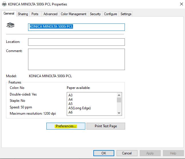 Printer Preferences - print default settings