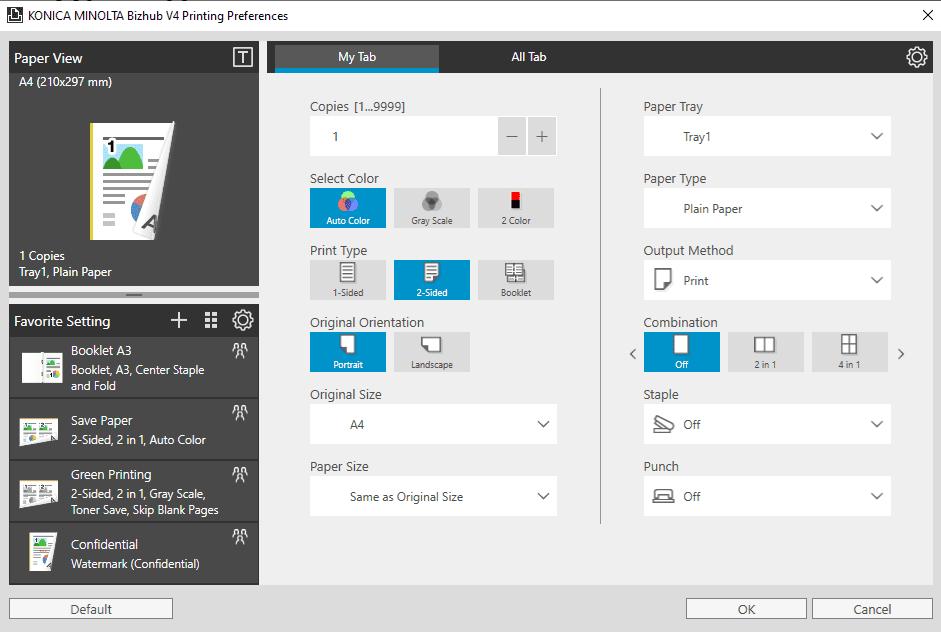 Printer Default Settings